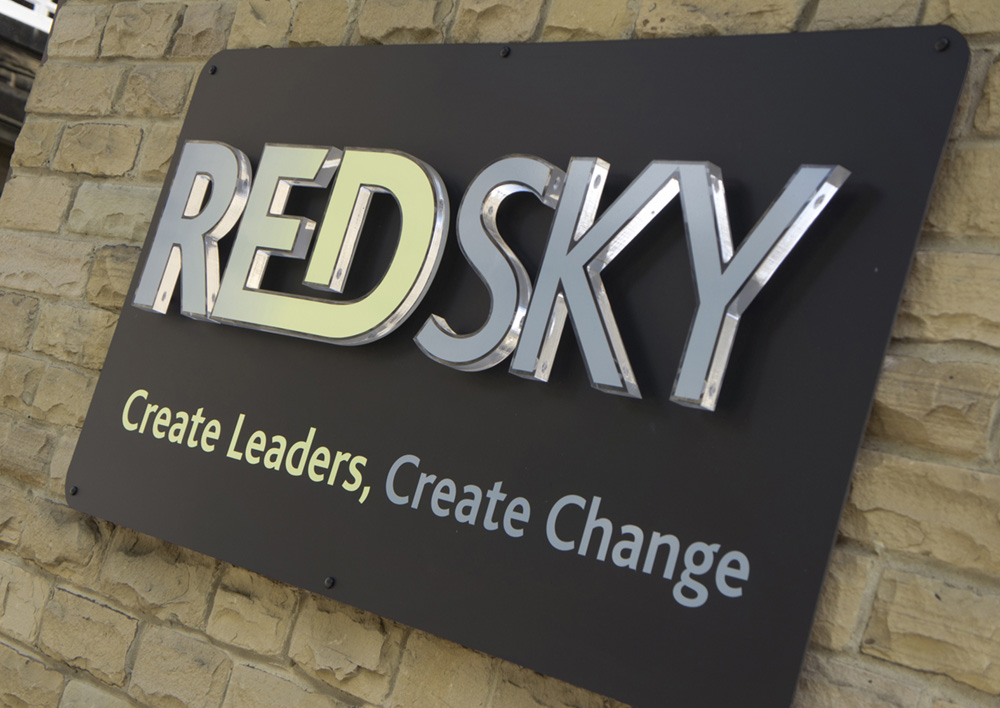 Redsky external wall sign with raised letters