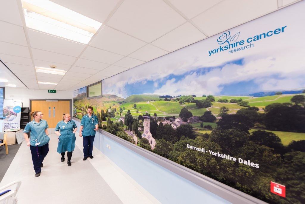 Yorkshire Cancer Research's new wall vinyls installed at the Bexley Wing at St James's University Hospital in Leeds - depicting Yorkshire landscapes. Design & supply by designs signs and graphics centre in harrogate.